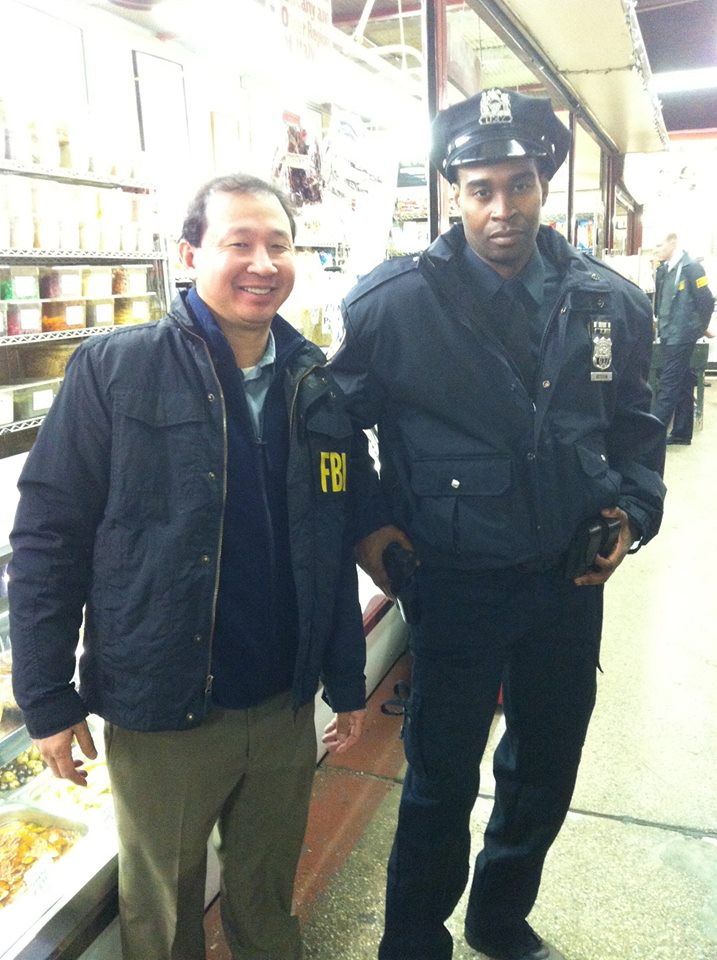 George Robert as an NYPD officer on set of The Following (FOX).